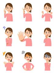 女性の様々な表情