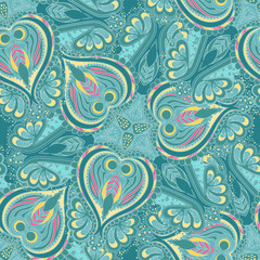 Seamless abstract hand-drawn floral  pattern. Seamless pattern can be used for wallpaper, pattern fills, web page background,surface textures.