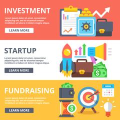 Investment, startup, fundraising flat illustration set