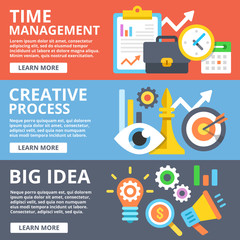 Time management, creative process, big idea flat illustration set