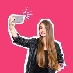 Millennial teenage girl smiling taking a selfie on smartphone