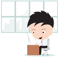 man working on computer on white background, illustration vector in flat design
