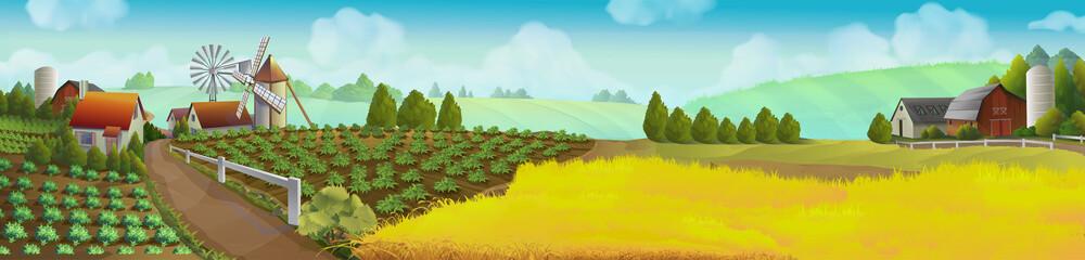 Farm, panorama landscape, vector background Fototapete