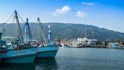 Fishing boats moor at Khanom port , Thailand