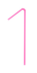 A pink bendy straw on white
