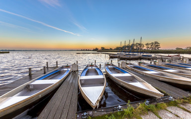 Wall Mural - Small rental boats in a marina in summer