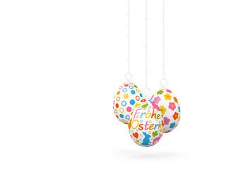 Frohe Ostern - Drei hängende, verzierte, dekorative Ostereier isoliert auf weißem Hintergrund. Vorlage für Ostergrußkarten. Ostern, Ostergrüße, Grußkarte - Happy Easter - Three Hanging Easter Eggs.