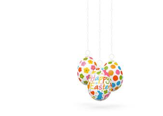Happy Easter - Drei hängende, verzierte, dekorative Ostereier isoliert auf weißem Hintergrund. Vorlage für Ostergrußkarten. Ostern, Ostergrüße, Grußkarte - Frohe Ostern - Three Hanging Easter Eggs.