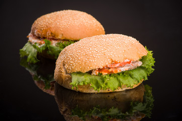 Two hamburger, black background