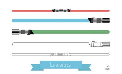 The flat illustration swords