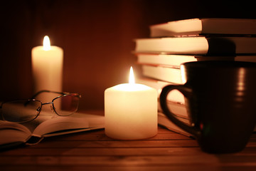 book glasses candle night