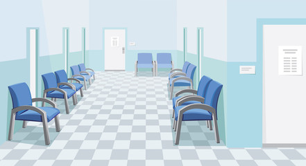 Empty waiting room in the hospital. Private medical practice. Modern Interior at the doctor. The best medical health care. Simple cartoon vector illustration in perspective.