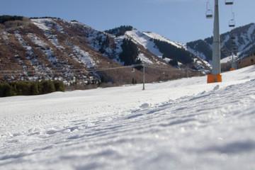 ski slope with ski lifts