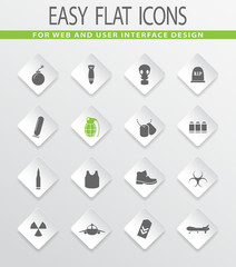 Military Silhouette icons set