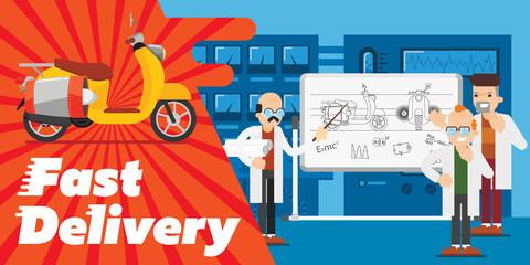 Fast delivery transport design, vector banner. Cute illustration