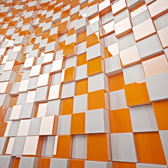 3d checkered background in orange and white tone. 3d pattern checkered background. Render picture, template and background for presentation and design.
