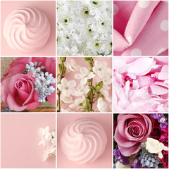 Collage with pink flowers and sweets