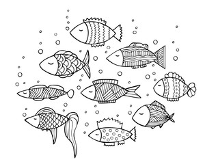 Adult coloring book page design with fish