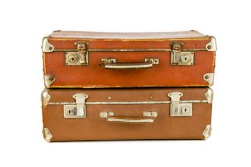 Set of old suitcases. Brown retro suitcase. Vintage baggage. Vintage travel bags.
