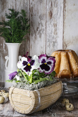 Pansy flowers in wooden box