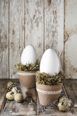 Goose eggs on hay - easter decoration