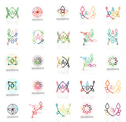 Linear abstract logos, letters, swirls