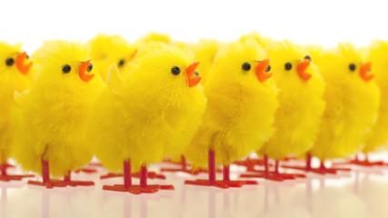Abundance of easter chicks, selective focus