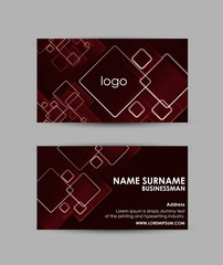 Abstract squares pattern on red background - Business card vector design template.