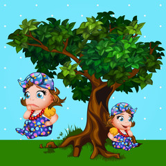 Little girl next to the tree, cartoon character