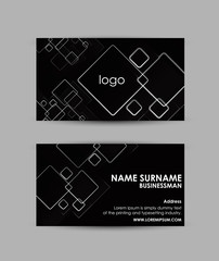 Abstract squares pattern on black background - Business card vector design template.