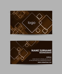 Abstract squares pattern on orange background - Business card vector design template.