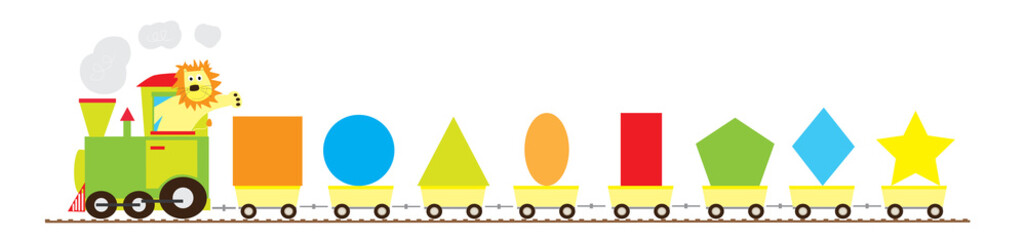 Basic geometric shapes train with smiling lion/ educational vector illustration for children