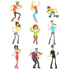 People Singing Karaoke, Vector Illustration Set