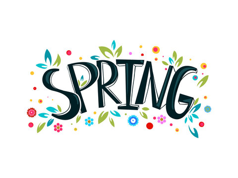 Spring lettering design logo