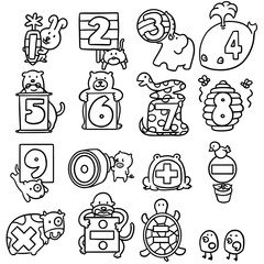 vector set of animal number