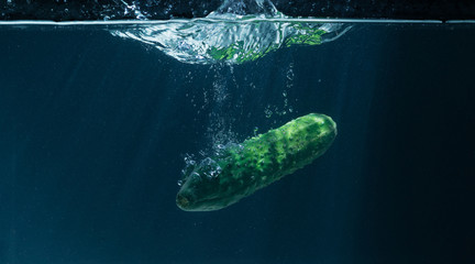cucumber thrown into the water