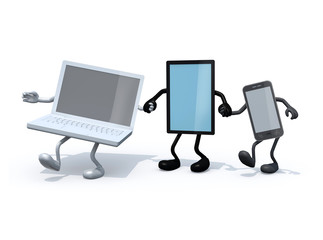 notebook, tablet and smartphone with arms and legs hand in hand, 3d illustration