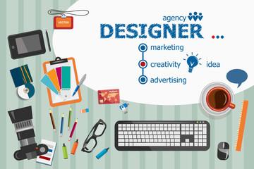 Designer and flat design illustration concepts for business
