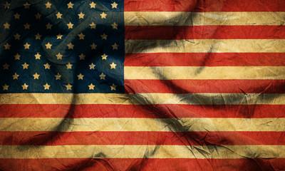 Closeup of grunge American flag vintage