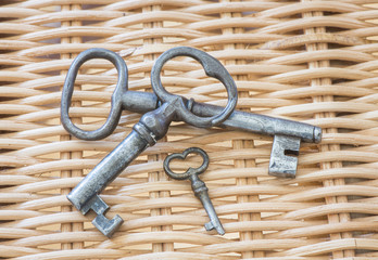 Small and large vintage keys in old retro style