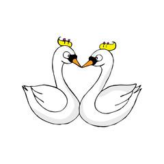 Cartoon Couple Geese