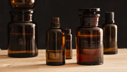 Old fashioned medicine glass bottles