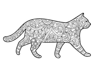 Cat coloring book for adults vector