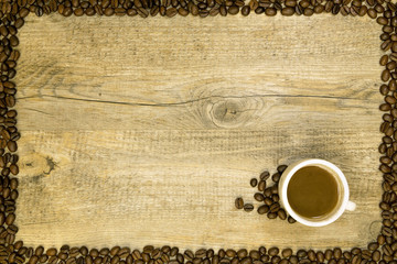 coffee card on a wooden background