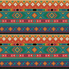 Bright folk ornamental textile seamless pattern