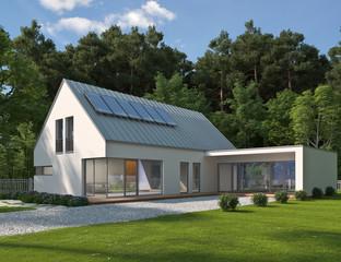 Haus mit verglastem Anbau