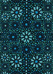 Blue moroccan mosaic wall decor