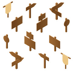 Isometric wooden pointers. Brown plywood. Rustic signs direction
