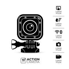 Action camera. illustration. Vector image isolated on white background. Set icons