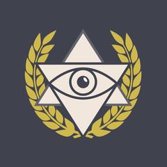 Masonic vector symbol. Masonic sign in flat style. Masonic icon